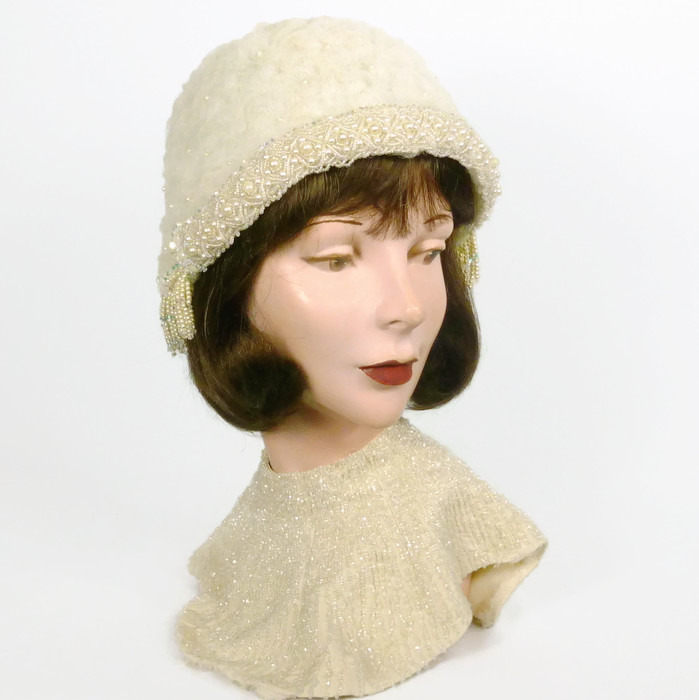 Milky White Cloche Hat - Hand Beaded - 1920s 1930s Style - Swarovski Crystals
