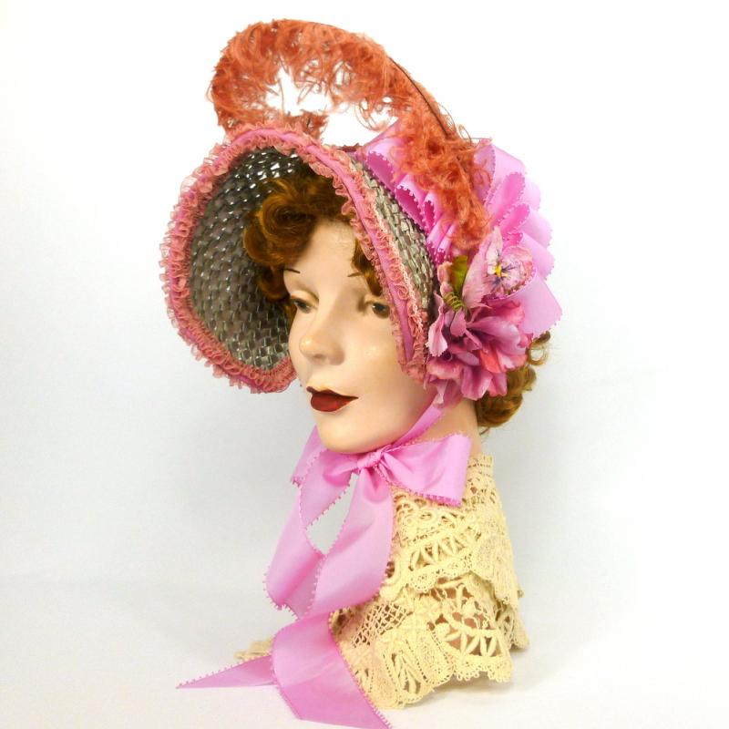 Repoduction 1800s Visiting Bonnet  -Vintage Straw