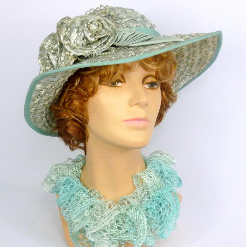 Sea Foam Lucite Green Straw Sun Hat - Hand blocked - Ribbon work