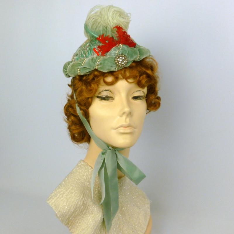 Repoduction 1891 Victorian Bonnet Hat in Seafoam & Red