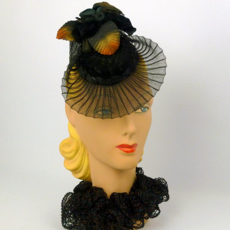Black Crin and Velvet Fascinator Hat - Hand made - Cocktail hat