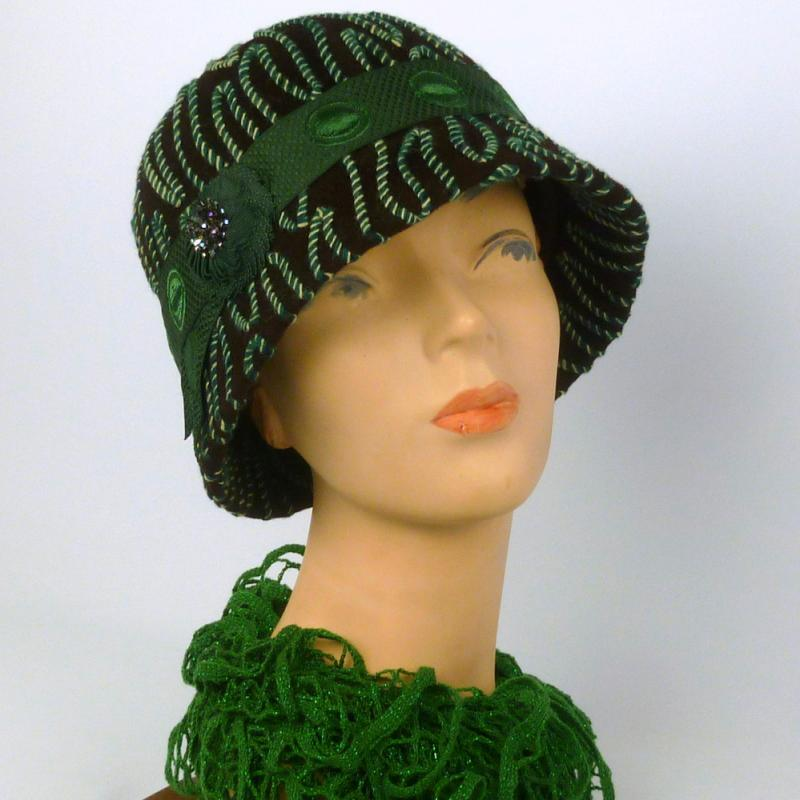 Brown felt cloche 1920s style with green and white accents