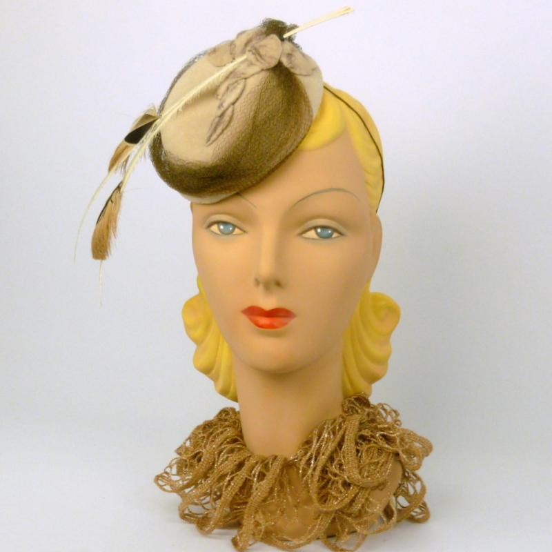 Brown and Tan Velour Felt Pillbox Fascinator Hat