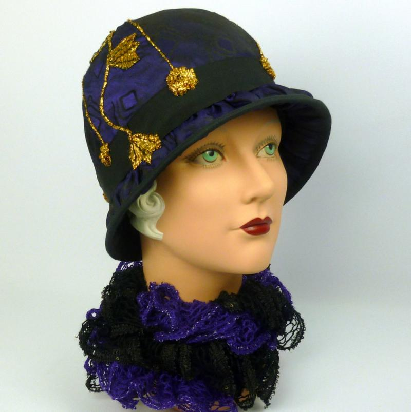 Black and purple cloche with gold accents