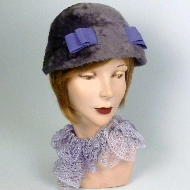 Dusty Lavender Long Fur Felt Cloche Hat