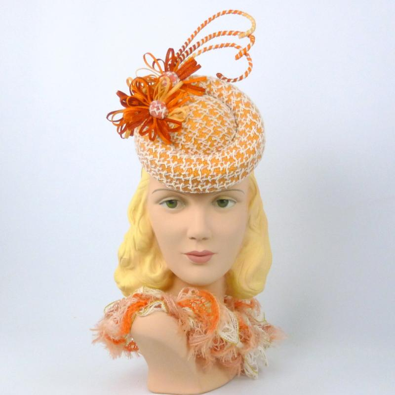 Orange and White Percher Fascinator Hat - Hand Made
