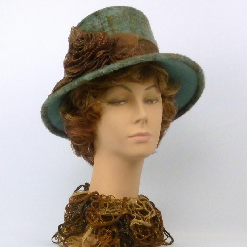 Patterned Fur Felt Hat - Seafoam & Brown - Modern Cloche Style
