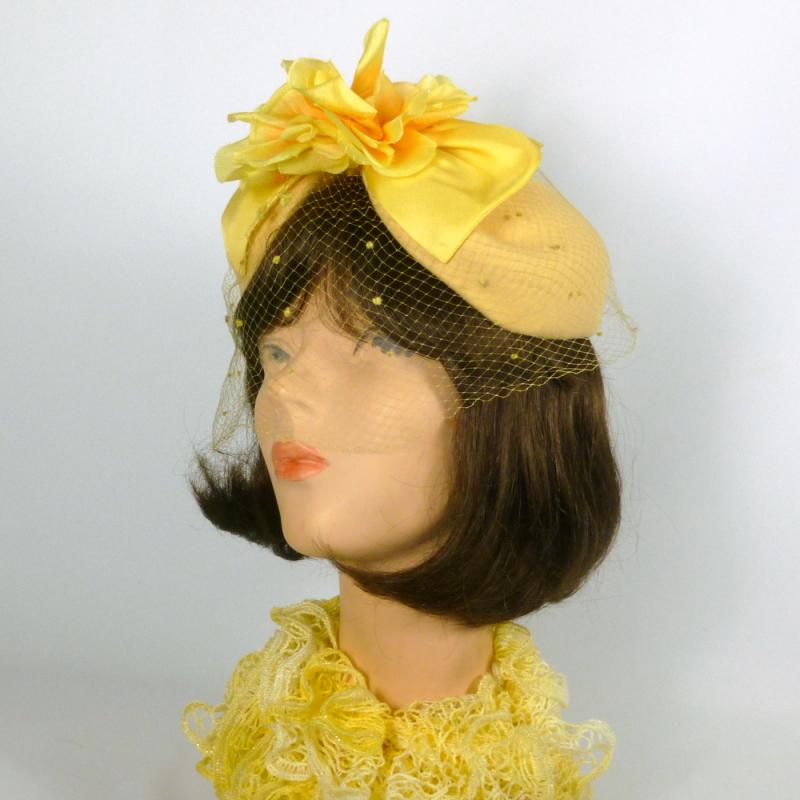 Yellow Fascinator Hat -Handmade-Vintage French Veiling & Vintage Flower