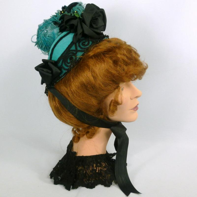 Reproduction Victorian bonnet in turquoise and black