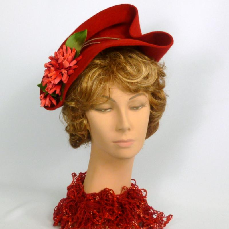 Red Felt Fascinator Cocktail Hat - Hand Sculpted Velour Felt