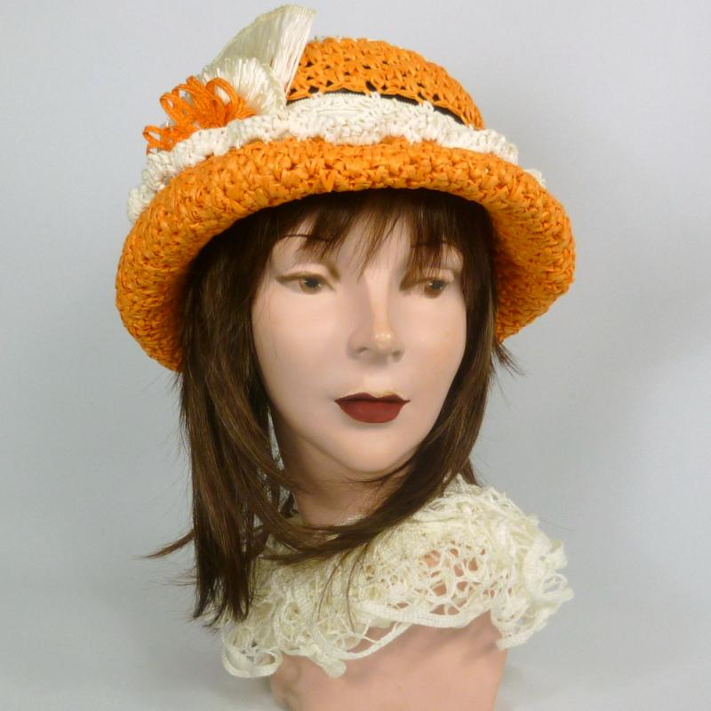Orange and White 1960s Style Straw Bowler