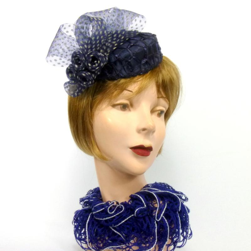 Navy Blue & White Mini Pillbox Fascinator - Straw - Crin - Satin