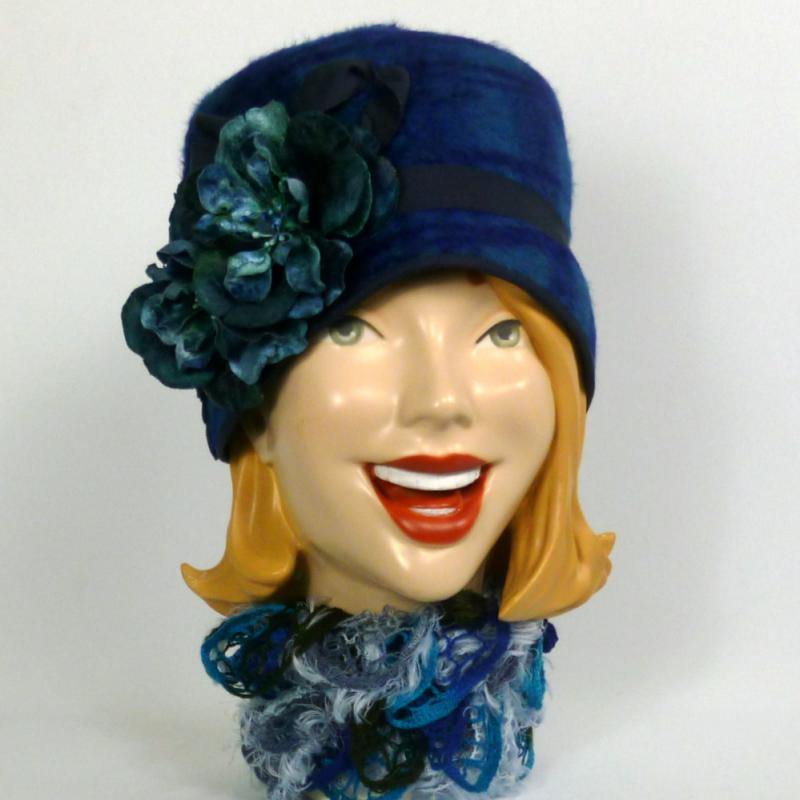Blue Patterned Felt Cloche Hat 1920s - 1930s Style