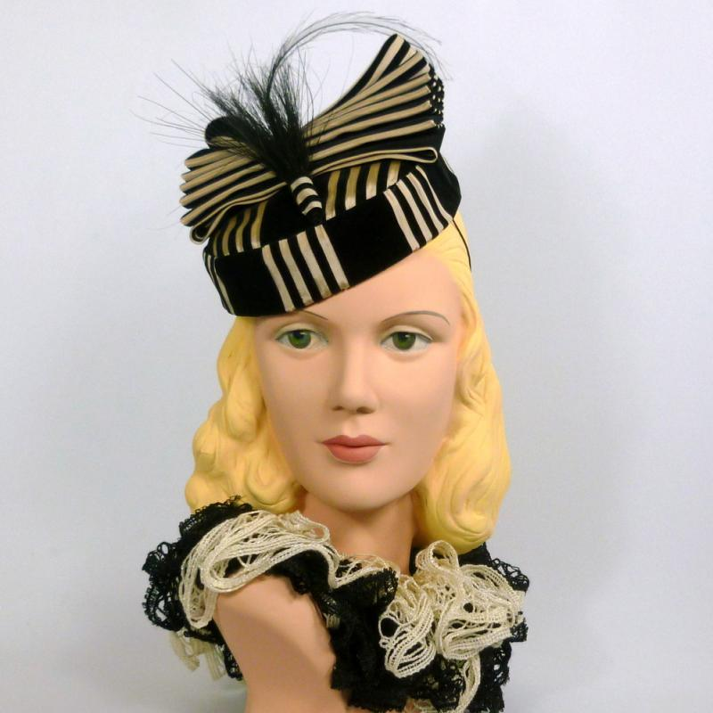 Black and White Striped Pill Box 1940s style