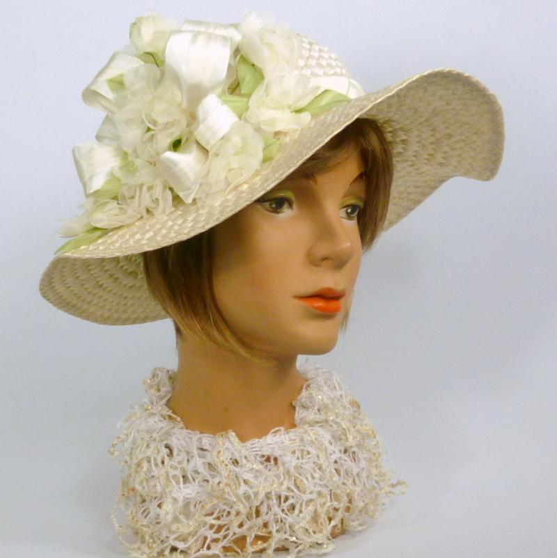 White Straw Picture Sun Hat -Kentucky Derby