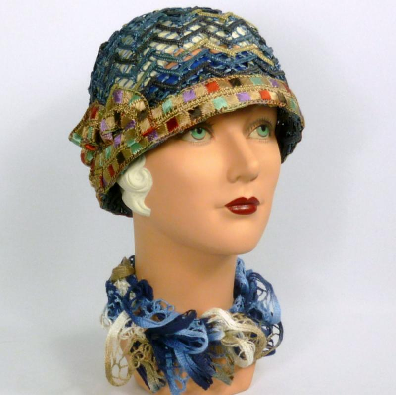 Woven Straw Cloche Hat in Shades of Blue - Vintage Period Embroidered Ribbon