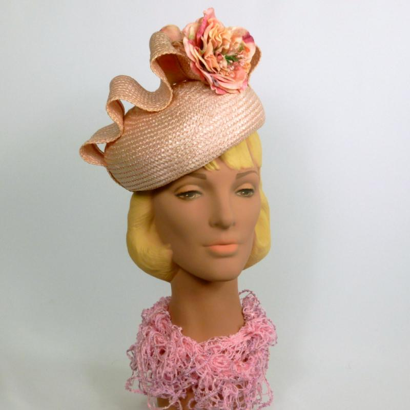 Light Pink Straw Pillbox Shaped Fascinator Hat
