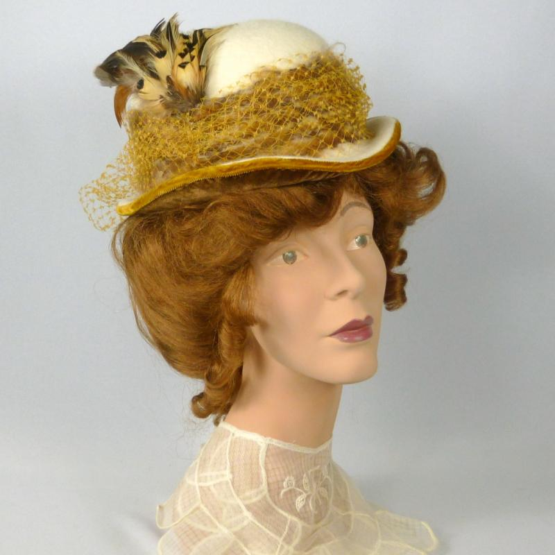 Reproduction Victorian Ladies Sport Bowler Hat - 1800s-1900s - Fur Felt - Handmade-