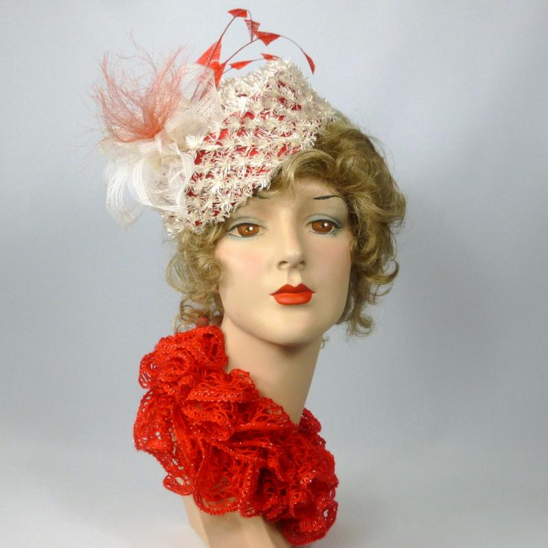 Red and White Pillbox Hat in Straw, Silk, and Crin