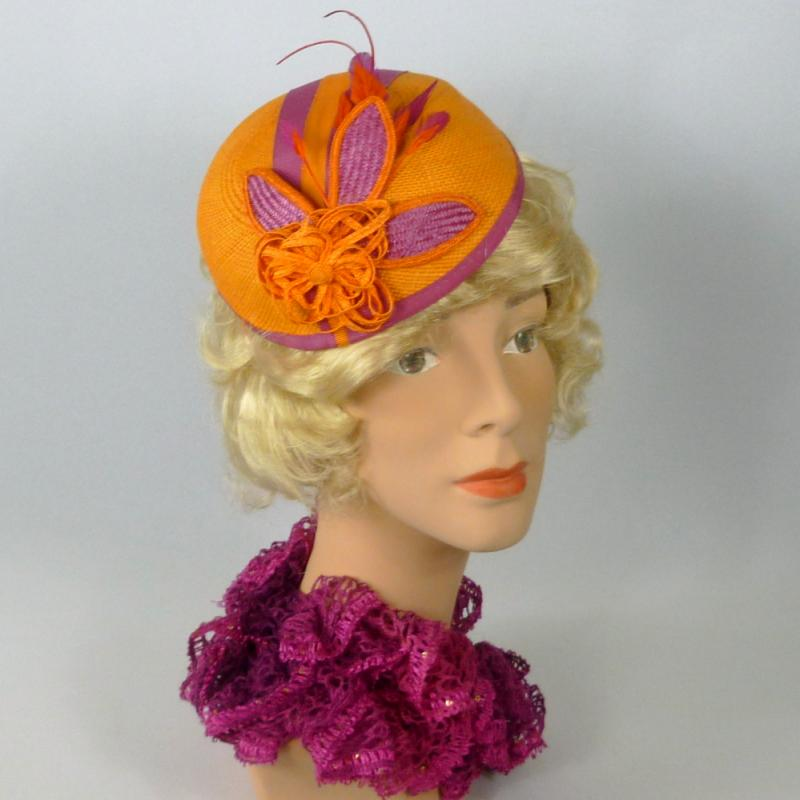 Tangerine and Raspberry Straw Pillbox Fascinator Hat