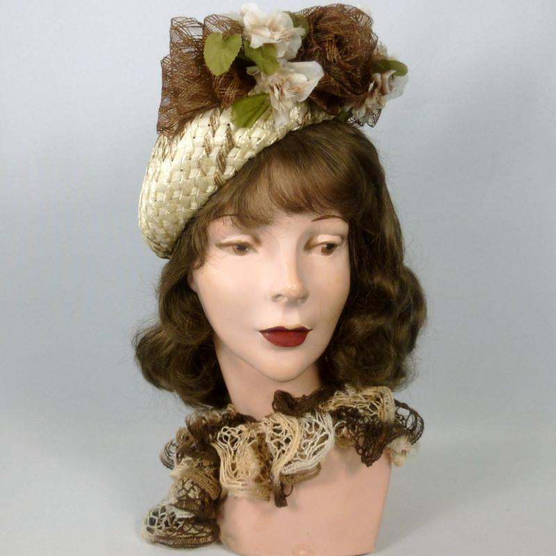 Light Beige and BrownWoven Straw Tam Fascinator Hat - Ribbon Rose & Bows