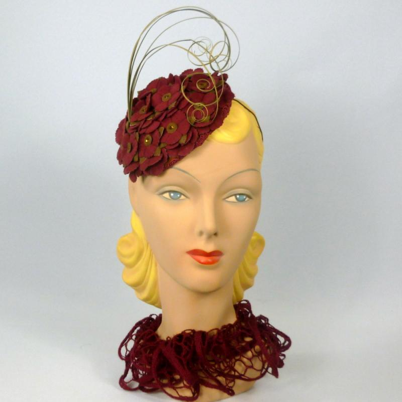 Maroon and Light Brown Fascinator Hat - Vintage Fabric Flowers