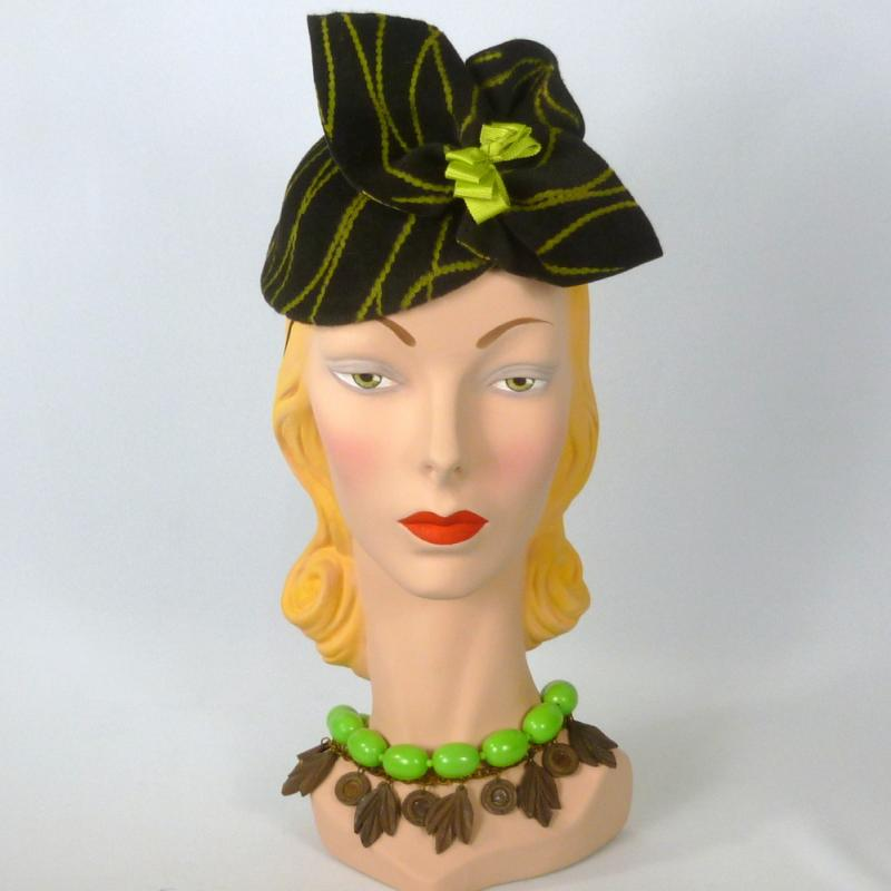 brown and chartreuse felt fascinator