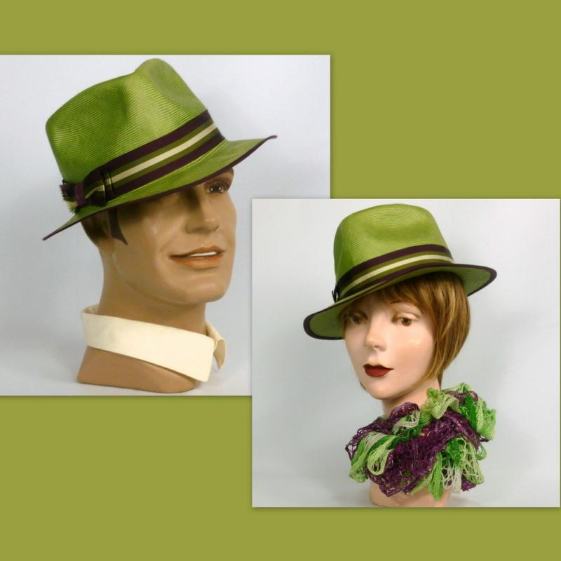 Unisex - Lime Green Straw Fedora Hat