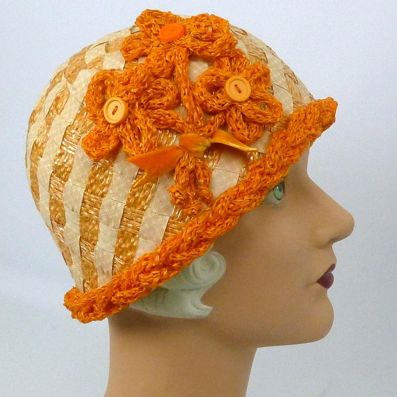 Orange and white straw cloche hat 1920s style