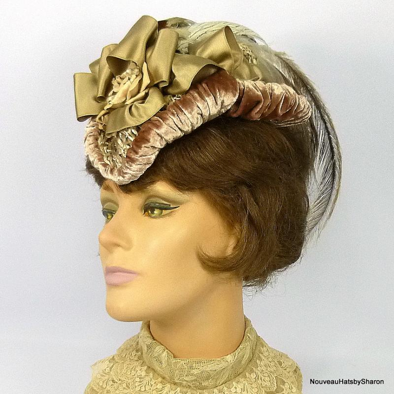 Taupe walking hat Reprodction Victorian