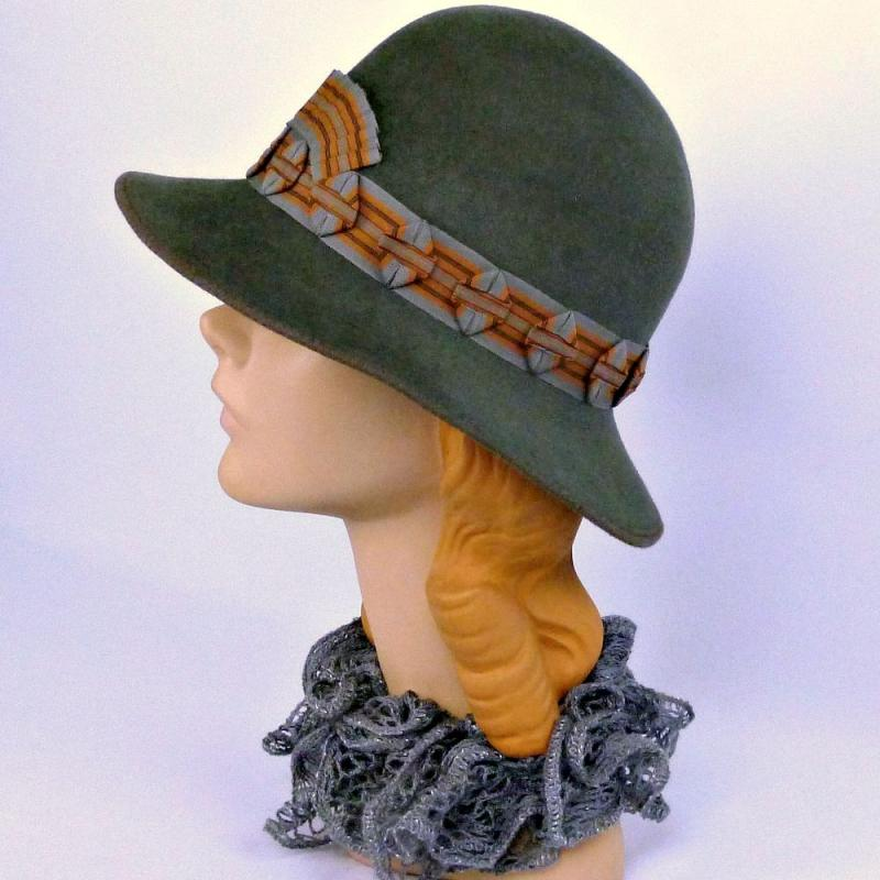 Grey Fur Felt Hat - Rust and Gray Ribbonwork Trim