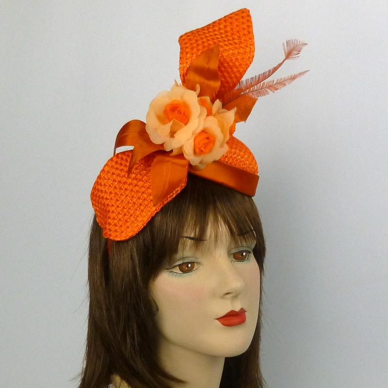 Orange Strawcloth Fascinator Hat with Satin, Flowers, & Feathers