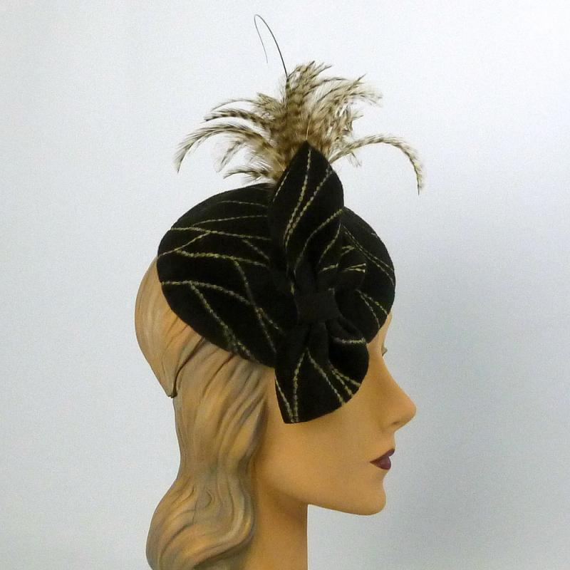 Patterned Brown Velour Felt Fascinator Hat-Vintage Felt from Italy -Feathers