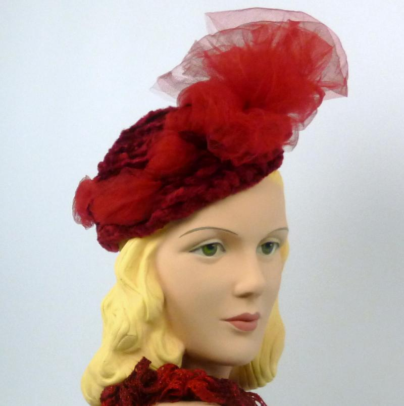 Marsala Burgundy Red Chenille Tam Fascinator Hat - Matching Maline netting