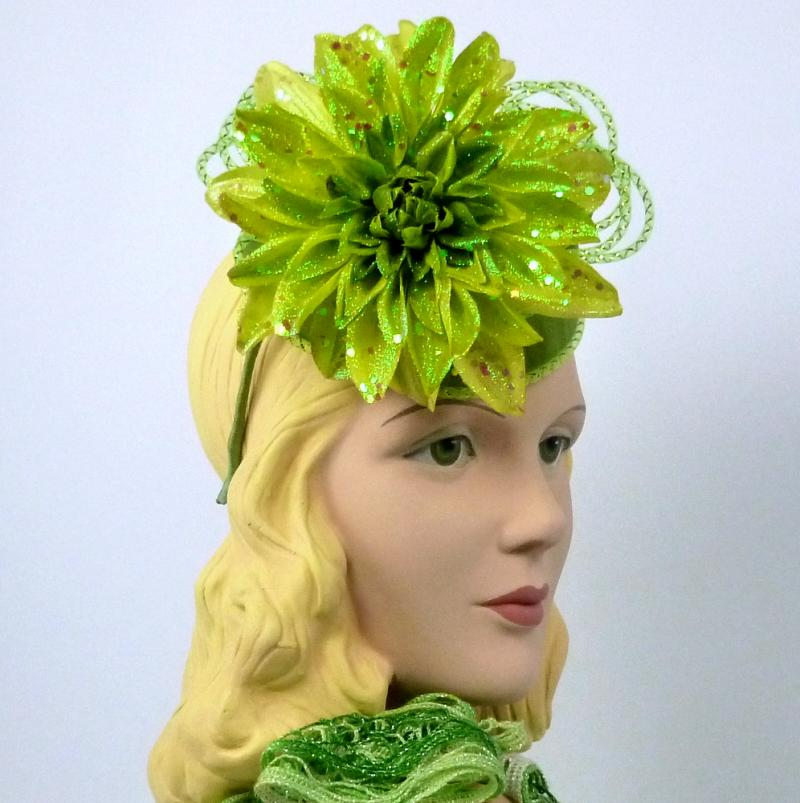 3 Tone Green Sparkling Fascinator Hat - Mini Pillbox - Cocktail