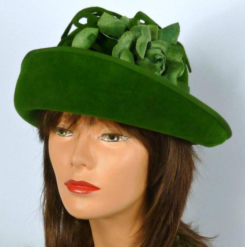 Deep Olive Green Velour Felt Hat - Upturned Brim -