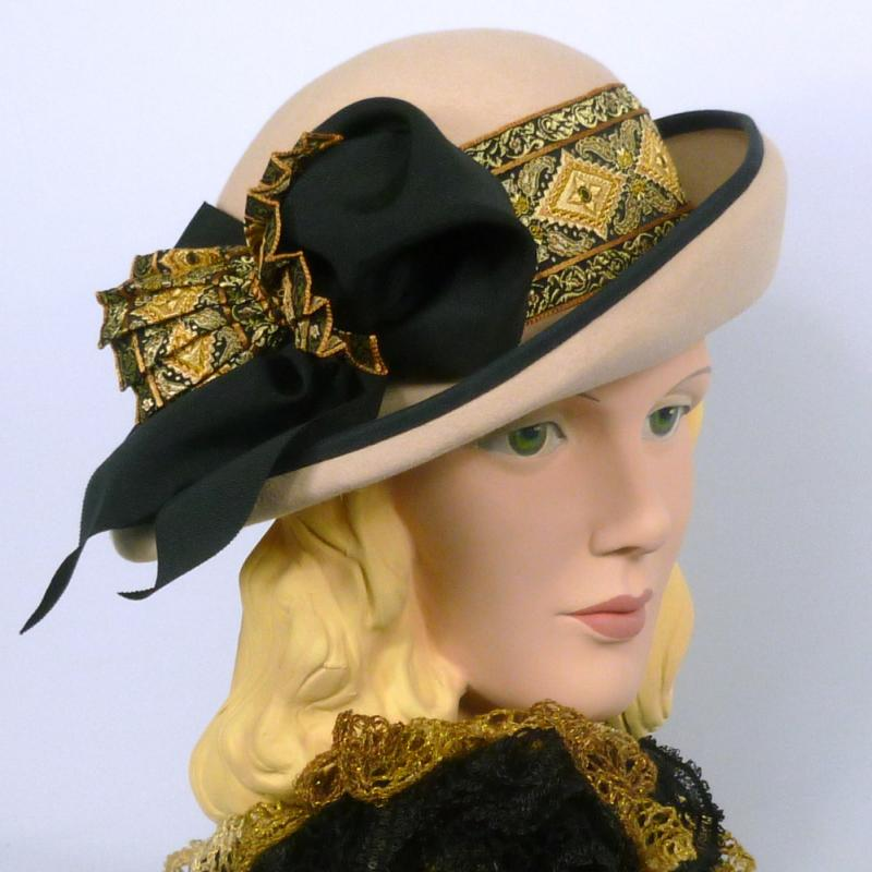Black & Gold and Candlelight Hat - Side Tilt Brim -Tapestry Ribbon