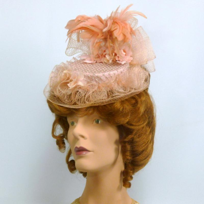 Reproduction Victorian Traveling Hat in Light Coral