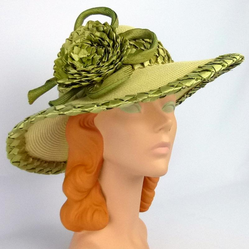 Pale yellow and olive green straw wide brim picture hat
