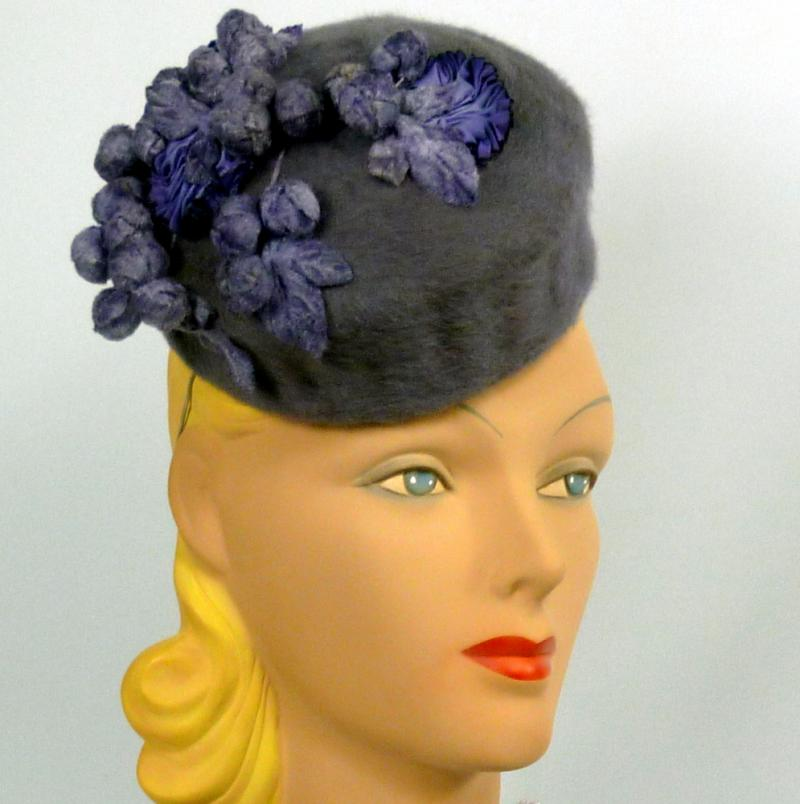 Smoky Lavender Pillbox Hat - Fur Felt - Vintage Velvet Berries