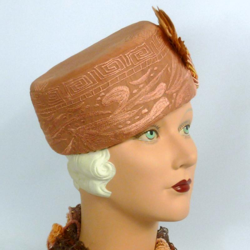Rose Beige Pillbox Hat -Embroidered Designer Fabric -Vintage French Feather