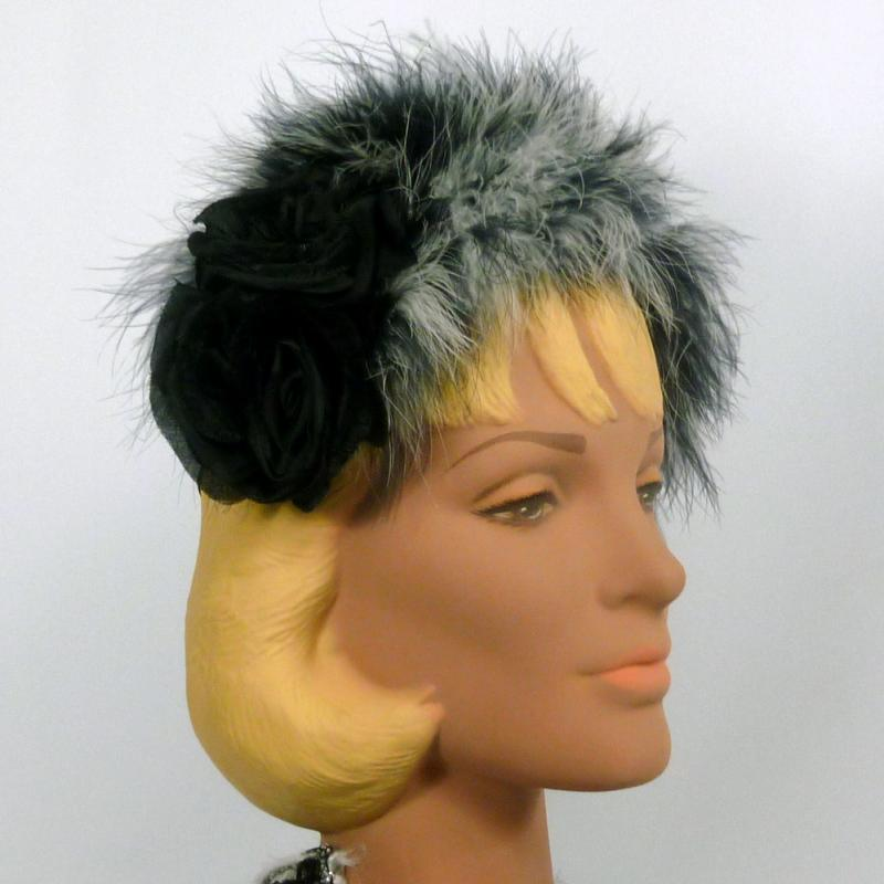 Black and White Feathered Headband Fascinator Hat