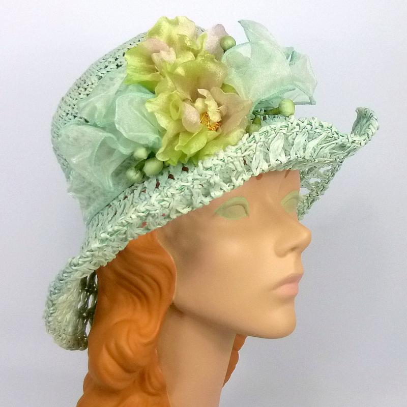 Light Sea Foam and White Straw Hat with Organza band and Flowers