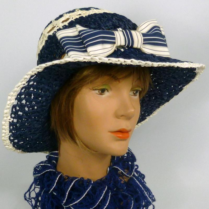 Blue & White Straw Hat - Hand blocked Vintage 1960s Straw Hood