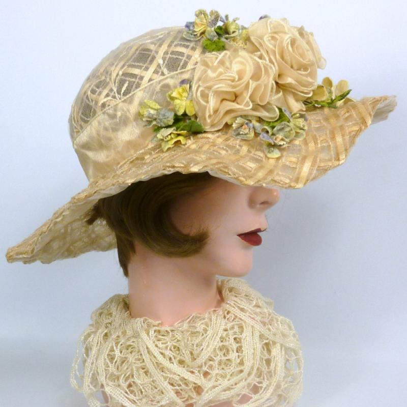 Timeless Straw & Lace Kentucky Derby Hat - Hand Made Ribbon Roses