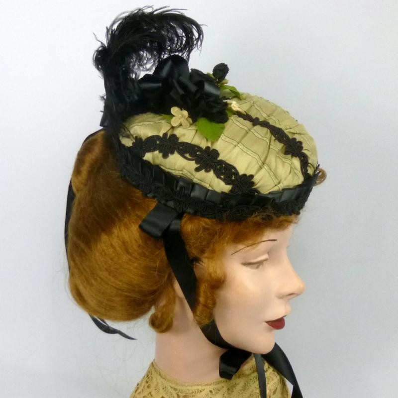 Repoduction 1860s Bonnet Hat in Beige & Black
