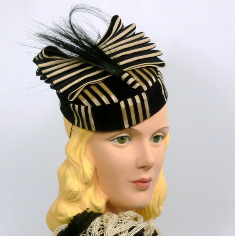 Black and Off-White Striped Pillbox Fascinator Hat