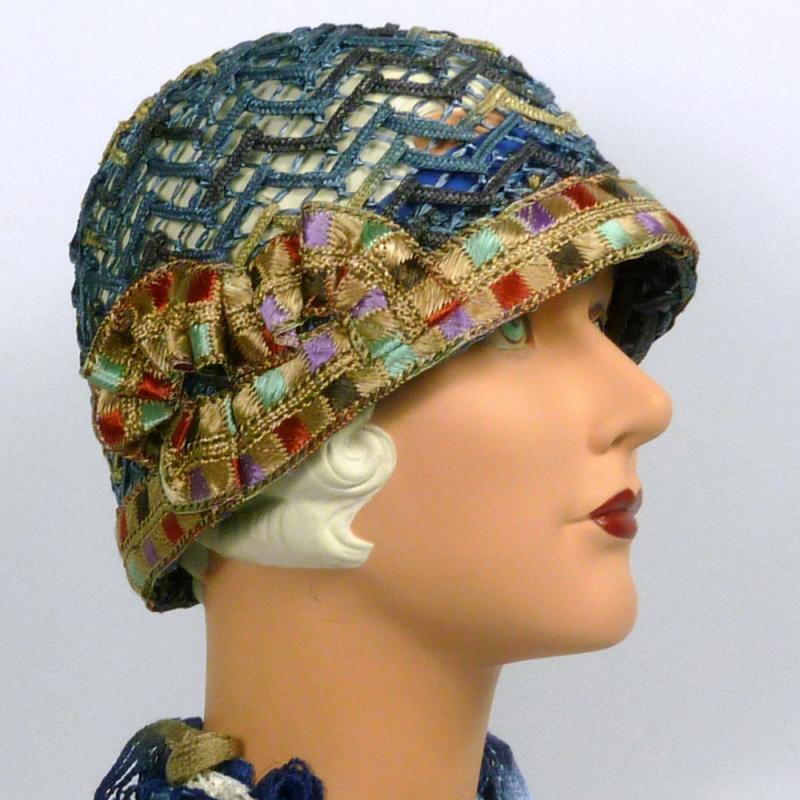 Woven Straw Cloche Hat in Shades of Blue - Vintage Period Embroidered Ribbon 2