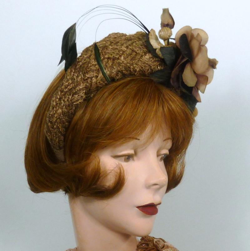 This crown hatband fascinator is made from vintage brown woven strawbraid