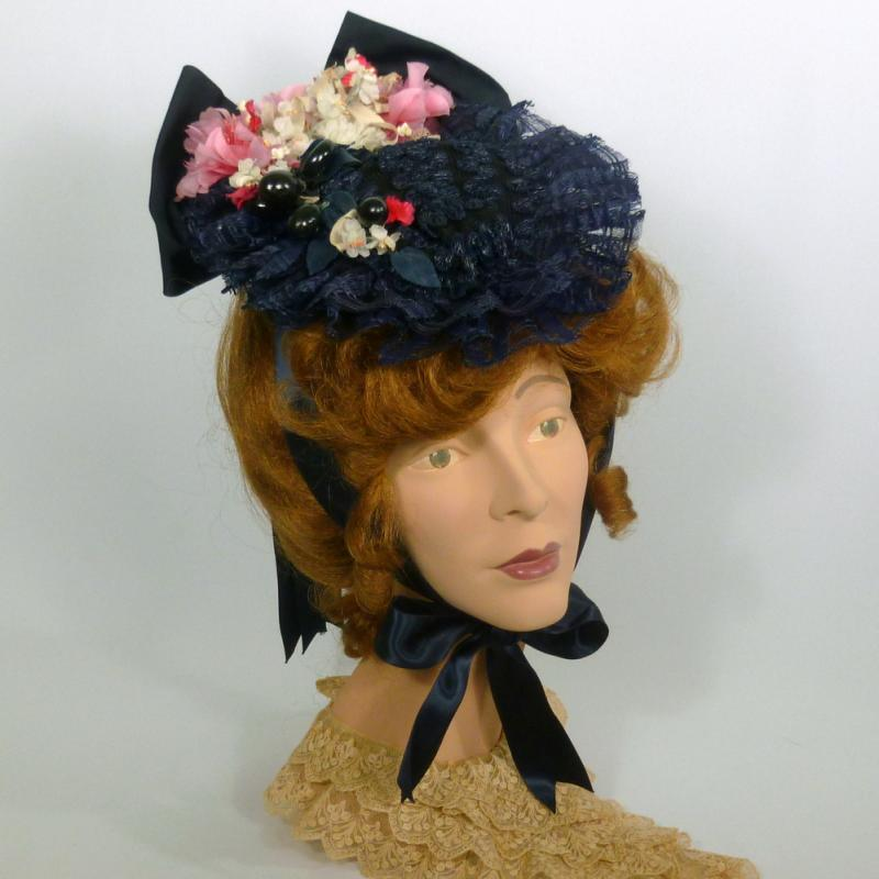 Civil War hat reproduction traveling hat in navy and pink straw